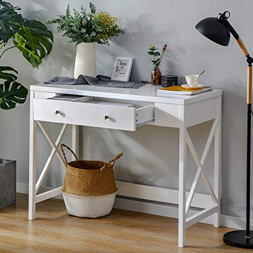 Elliroman Cajones Mesa de ordenador, escritorio compacto con 1 cajón, diseño moderno, escritorio de madera, escritorio de estilo escandinavo, mesa de ordenador blanca con