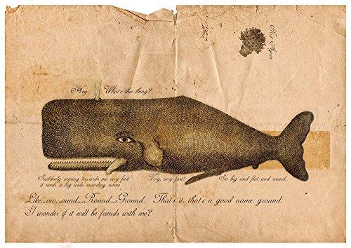 """Poster vintage con scritta in inglese """"Guida galattica per gli autostoppisti"""", balena e petunie, Stampato professionalmente con una finitura lucida Fuji Crystal Archive., Arancione, A4(8.3""""x11.7"""")"""