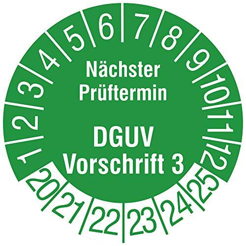 Labelident Mehrjahresprüfplakette 2020-2025 - Nächster Prüftermin DGUV Vorschrift 3 - Ø 15 mm, 240 widerstandsfähige Prüfplaketten in der Packung, Vinyl, grün, selbstklebend