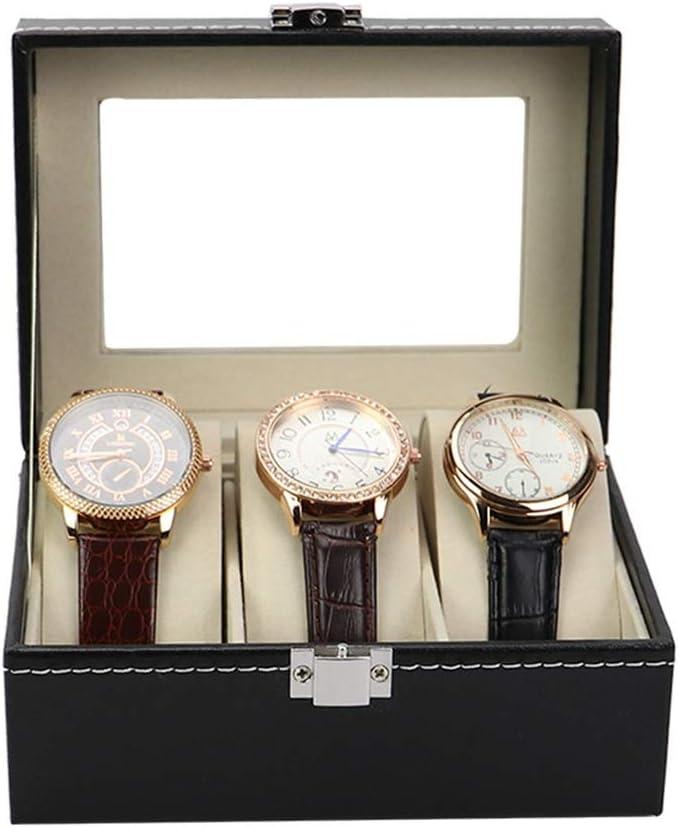 Huangjiahao Cajas para Relojes Joyero Caja de Reloj Unisex de Cuero Negro tirón Cajas de Reloj Antiguos Regalos de Almacenamiento en el Hogar (Color : Black, Size : 16cmx11cmx7cm)