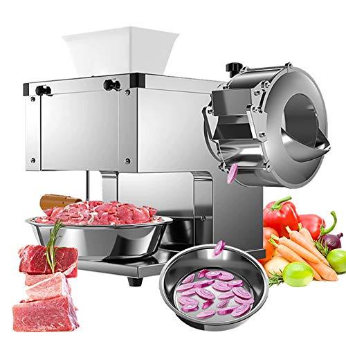 Cortadora de carne comercial Máquina cortadora automática eléctrica de acero inoxidable para el hogar Cortadora de verduras y carne fresca para cocina y restaurante, 220 V
