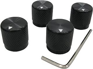 Taiss/ 4pcs black Aluminum Rotary Electronic Control Potentiometer Knob For 6 mm Diameter Shaft, Volume Control Knob, Audio knob, Guitar Knob,Switch Knob, 17mm dia. x 17mm height