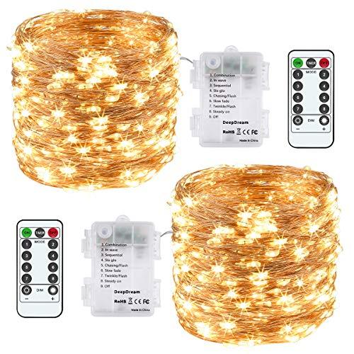 Lichterkette Batterie, 2er 12M 120 LED Lichterkette 8 Modi Außenbeleuchtung Kupferdraht Wasserdichte IP65 mit Fernbedienung und Timer für Innen/Außen Dekoration (Warmweiß) [Energieklasse A+++]