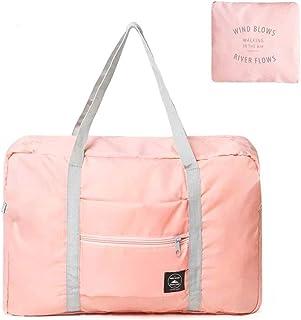 NANAOUS Reisetasche Wochenendtasche aus Segeltuch, leicht, wasserdicht, faltbar, mit Schultergurt Pink rose 2118 cm