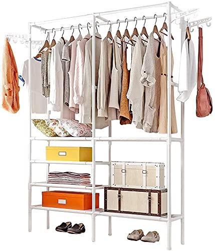 Perchero para ropa, raíl de ropa, armario de tela secador, dormitorio doble raíles independientes, organizadores de ropa con estante de almacenamiento de 6 niveles (blanco)