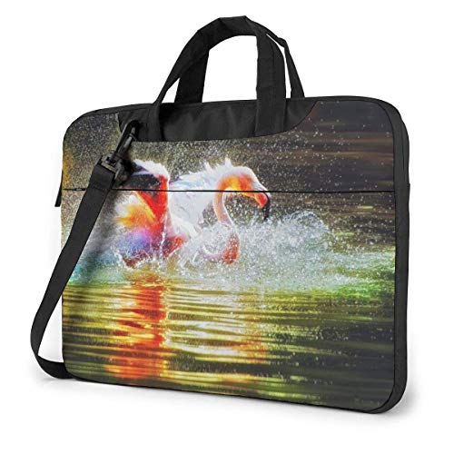 Laptop Shoulder Bag Carrying Laptop Case 15.6 Inch, Flamingo Swan Computer Sleeve Cover with Handle, Business Briefcase Protective Bag for Ultrabook, MacBook, Asus, Samsung, Sony, Notebook