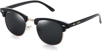 ZAMGIC Retro Round Polarized Semi-Rimless Frame Sunglasses