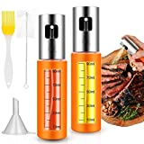 Oil Sprayer Dispenser, Olive Oil Sprayer Mister for Cooking, Oil Vinegar Sprayer with Measurements Bottle, Bottle Brush and Oil Funnel for Kitchen Salad BBQ Frying Baking Grilling(2 Pack)
