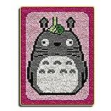 DATOU Kits De Gancho De Pestillo Patrón Totoro Impreso DIY Crochet Hilado Kits Lienzo Cosework Crocheting Alfombra Bordado Set De Alfombras para Niños Adultos(Size:52x38cm)