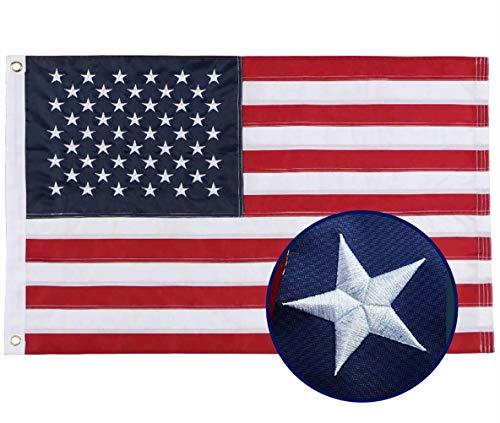 duduta 2x3 Feet American Flag Nylon USA Flag Outdoor Indoor US Flag Embroidered Stars Sewn Stripes Brass Grommets