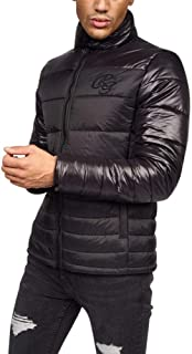 Crosshatch Mens Quilted Padded Zip Up Shine Puffer Coat Jacket- Zipped Pockets- No Hood