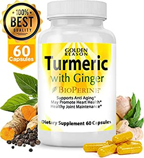 Turmeric Curcumin with Ginger. Anti Aging Support. Joint Support. Promotes Natural Weight Loss and Heart Health, with Bioperine (Black Pepper) Veggie Capsules. Non GMO. Made in USA. (60)