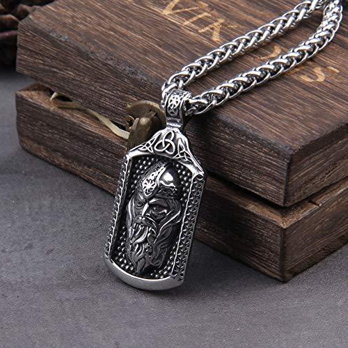 NDYD Collar con Colgante De Odin Celta Vikingo Nórdico, Amuleto De Runas Nórdico Mjolnir, Joyería Clásica (Cadena De Quilla De 24 Pulgadas)