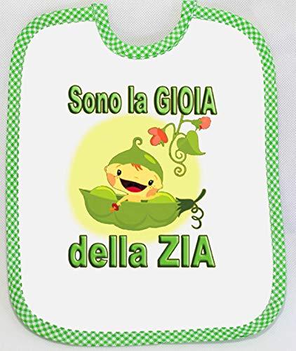 [Passaparola] Bavaglino -Gioia Zia Verde- Umoristico - Verde unisex pappa - Made in Italy