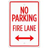 No Parking – Fire Lane Sign – 18' x 12' Aluminum Safety Warning Sign with Bidirectional Arrow – Easy Mount, Pre-drilled Reflective Signs for Parking Lots, Businesses, & Private Properties