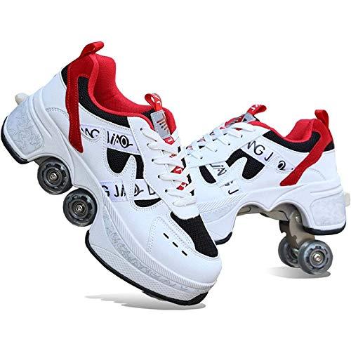 Patines Niños / Niñas / Mujeres,Zapatos con Ruedas de Deformación, Zapatos con Ruedas Parkour, 4 Ruedas, Rondas de Zapatos Para Correr, Zapatos con Ruedas, Zapatos Para Patinaje Unisex,White-EU36=UK4