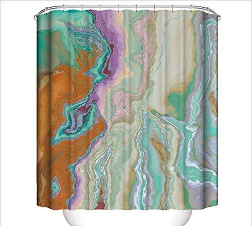 Anmutigcelle Abstrakte Kunst Duschvorhang Abstrakte Tinte bunte Textur Druck Vorhang für Badezimmer Dekor Wasserdicht Stoff Badewanne Dusche mit Haken 182,9 x 182,9 cm
