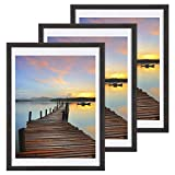 Sindcom 12x16 Picture Frame 3 Pack, with Detachable Mat for 11x14 Pictures, Wall Mounting Charcoal Gray Photo Frame, Pre-Installed Hanging Hooks for Portrait or Landscape Mode
