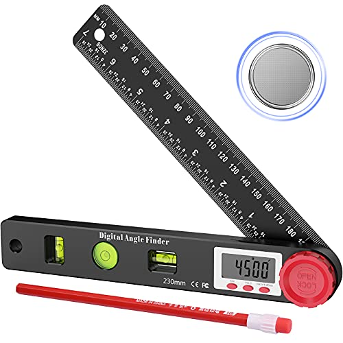 WARMQ Digitale Winkelmesser, Wasserwaage Digital mit LCD-Anzeige, 4-in-1Multifunktions Winkelschmiege Lineal, Winkelmessgerät mit Horizontale vertikale kreisförmige Blasen