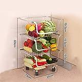 NPZ * Carro de estantería, estanterías for Frutas, móvil de Acero Inoxidable, Conveniente Sala de Estar de Gran Capacidad, frutería, Cesta de Frutas y Verduras, 29X34X63CM Carro de Almacenamiento