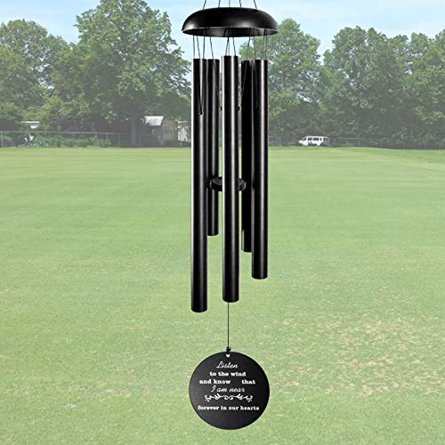 ARARTKEL Wind Chimes for Outside Deep Tone Memorial Wind Chimes as Sympathy Gift 32 Inch Windchimes Outdoors Decorations for Your Garden Patio,Metal Wind Chime Black …