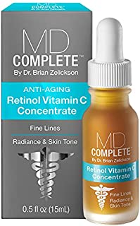 MD Complete Retinol Vitamin C Concentrate Serum - professional dermatologist skincare for anti-aging, skin rejuvenation, and skin repair for face & body