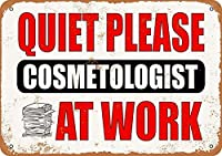静かにしてください-仕事中の美容師、ブリキのサインヴィンテージ面白い生き物鉄の絵画金属板ノベルティ