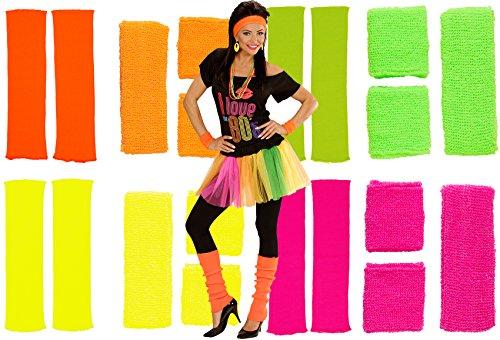 Karneval-Fasching-Shop 80er Neon Schweißband Stirnband Stulpen Set 4 Farben (pink)