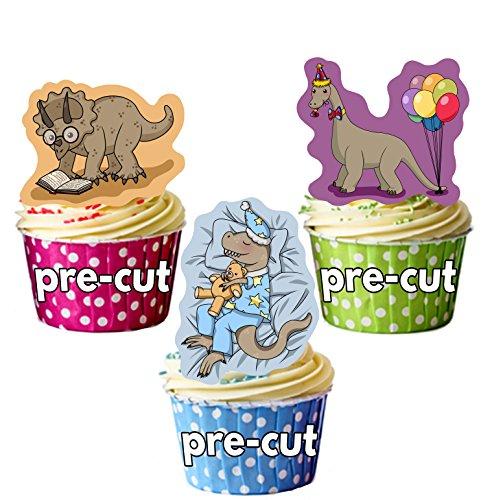 AK Giftshop PRE-CUT Cartoon Dinosaurussen - Eetbare Cupcake Toppers/Cake Decoraties (Pak van 12)