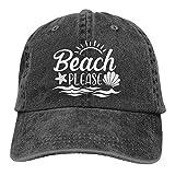 LOKIDVE Cute Women's Baseball Cap, Adjustable Beach Please Hat Unisex's Funny Sun Hat - Black