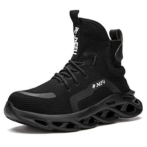 Zapatos Protección Laboral Industria y Construcción,Zapatos de seguros de trabajo, anti-smash anti-espina que llevan botas de seguridad transpirables ligeras de aislamiento eléctrico-negro_42EU