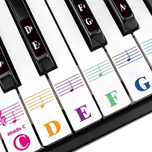 Piano Keyboard Stickers for 88/76/61/54/49 Key. Colorful Bold Large Letter Piano Stickers for Learning.Multi-Color, Transparent, Removable