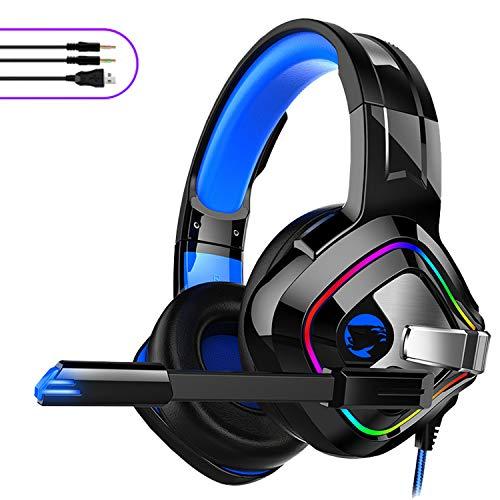YYKJ Cuffie da Gioco, Audio Surround da 3,5 mm, con Luce RGB e Microfono Regolabile, Adatto per PC Portatile per Computer Portatile con Impugnatura PS4