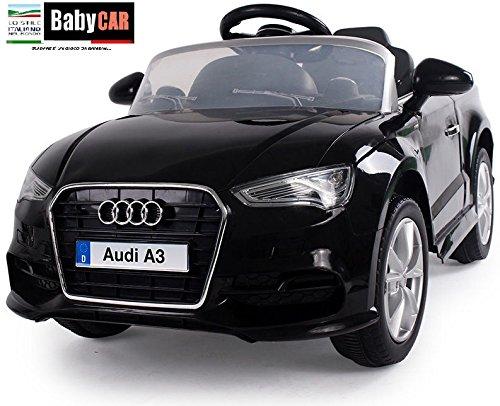 Babycar 99852N–Coche eléctrico para niños Audi A3con Mando a Distancia, 12V, Negro
