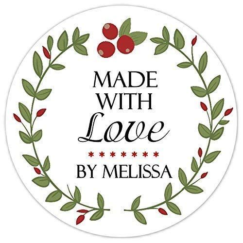 Made With Love Labels, Canning Labels, Red and Green Baking Labels, From the Kitchen Stickers, Christmas Stickers (40 count, 2 INCH ROUND)