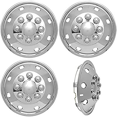4pc Full Set of 16 Wheel Simulators for 8 Lug 4 Hole for Dually Trucks, RV Trailer Van Stainless Alloy Wheels, OEM Factory Replacement - Universal Fit Easy Snap On