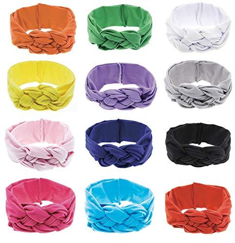 12pcs Baby Headbands Nylon Infant Headbands for Baby Girls Baby Head Wrap Baby Headbands Turban Knotted