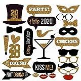 knowledgi 26 piezas 2020 Año Nuevo Photo Booth Puntelli Brillante Divertido bigote, labios rojos, mariposas, sombreros de Nochevieja, decoración de fiestas