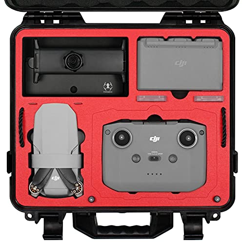 SYMIK A310-MM2DL Dual Layer Waterproof Hard Carrying Case for DJI Mini 2 / Mavic Mini 2 Drone/Fly More Combo w/Stock RC or Smart Controller; Fits Tablet Holder, Landing Pad, iPad; Rugged Protection