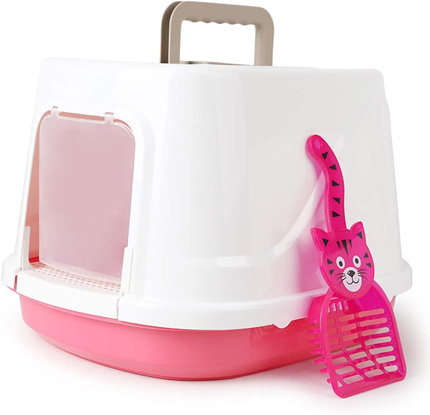 Fully Enclosed Cat Litter Box, AntiSplashing Large Cat Litter Cat Toilet, Cat Litter Box con Lid, Pink