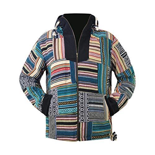 virblatt - Sudadera con capucha Baja   100% algodón   Alfombra de drogas con capucha para hombre mexicano Poncho Hippie Jacket Baja Jacket Zip Up Rasta Retro - - Large