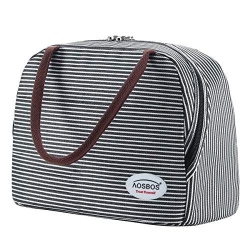 Kühltasche Klein Leicht Lunch Tasche Isoliertasche zur Arbeit Schule Faltbar Wasserdicht Reißverschluss 10L (Streifen)