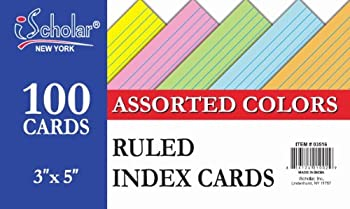 iScholar Index Cards Ruled Colored 3 x 5 Inches 100 Card Pack  03516