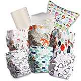 Littles & Bloomz Baby Reusable Nappy Cloth Pocket Diaper, Standard Hook and Loop, 6 Nappies + 6 Inserts, 1 Disposable Bamboo Liner, 1 Wet Nappy Bag, 606VM6