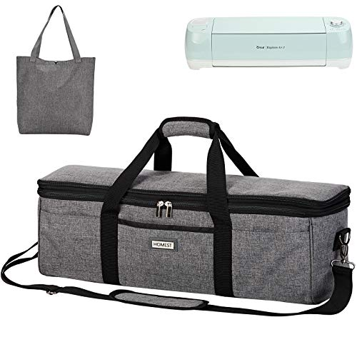 HOMEST 2 Compartments Lightweight Carrying Case Compatible with Cricut Maker and Supplies, Grey