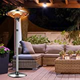 Outdoor Patio Heater Electric Heater - 1500W Outdoor Heater - Infrared Carbon Tube Heater ,Three-level Power Levels Patio Heater For Overheat Protection,LED Display,Weatherproof,Garage,Garden (Sliver)