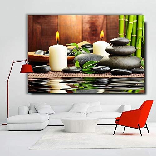 DIY Peinture en chiffres Photo de Bougie en bambou en Pierre Zen peinture par numeros Fleurs par numéros Accessoires de décoration pour la Maison Convient pour la décoration d50x70cm(Pas de Cadre)