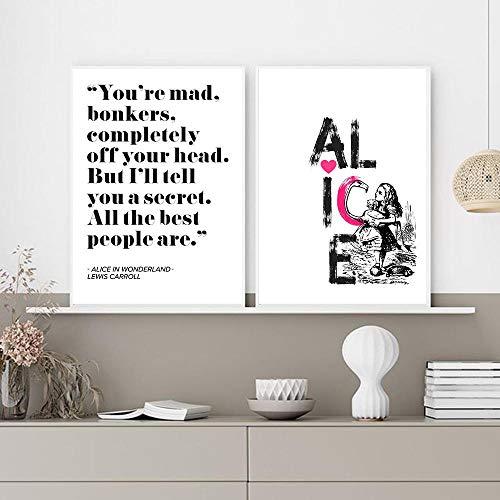 kingxqq Alicia en el país de Las Maravillas Cita Art Print Canvas Painting Colorful Girl Poster e impresión Wall Art Pictures Modern Girl Room Decoración -20x28 Pulgadas sin Marco