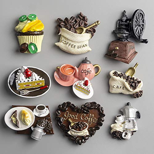shenlanyu Calamita da frigo 1 Pz Nordic Decorazione Domestica Cibo 3D Macarone caffè Frigorifero Pasta Magnetica Torta caffè Bollitore Magnete da Frigorifero Regali Raccolta (Consegna Casuale)