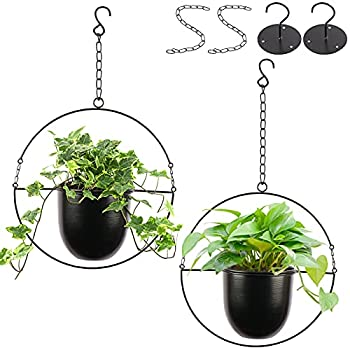 AerWo Metal Hanging Planters for Indoor Outdoor Plants Set of 2 Plant Hanger with 6  Metal Pots and Hooks Modern Minimalist Haning Plant Pot Mid Century Planters for Boho Home Decor Black